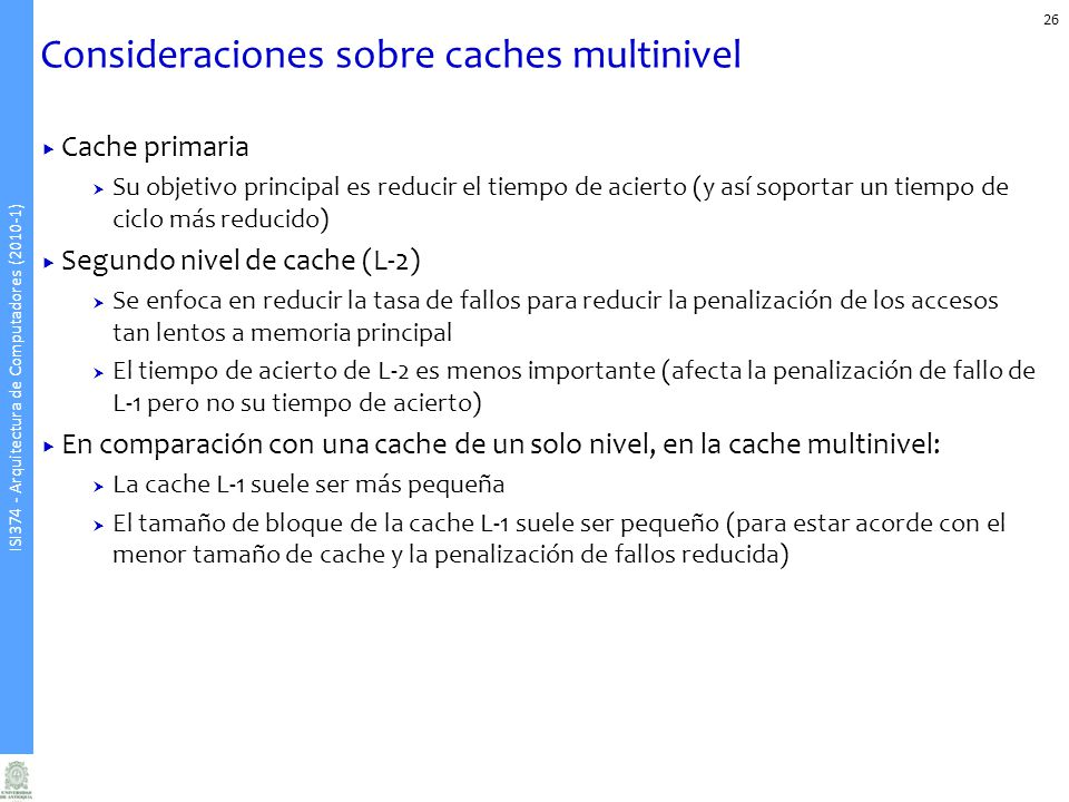 Consideraciones sobre caches multinivel
