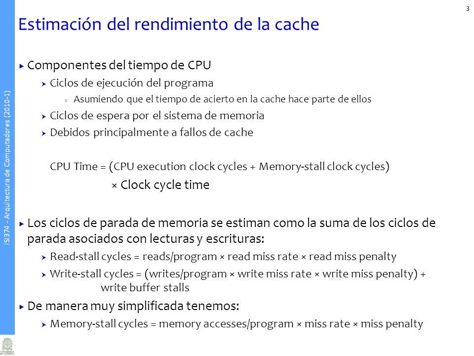 Estimación del rendimiento de la cache