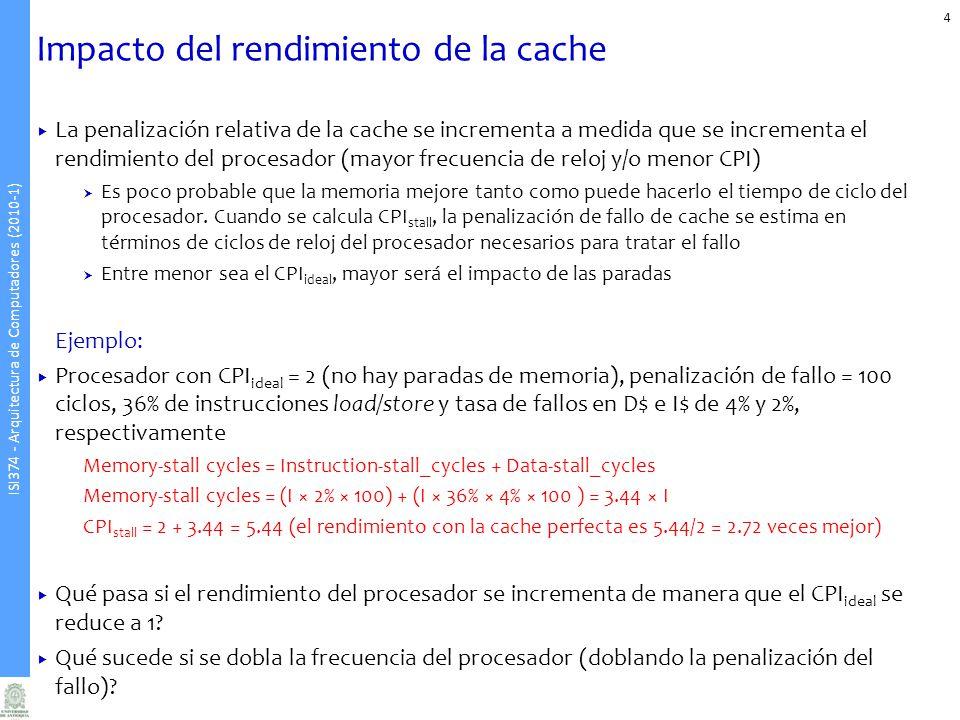 Impacto del rendimiento de la cache