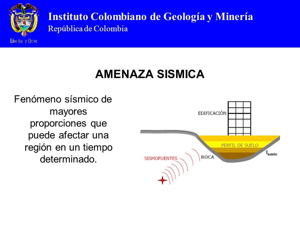AMENAZA SISMICA Fenómeno sísmico de mayores proporciones que puede afectar una región en un tiempo determinado.