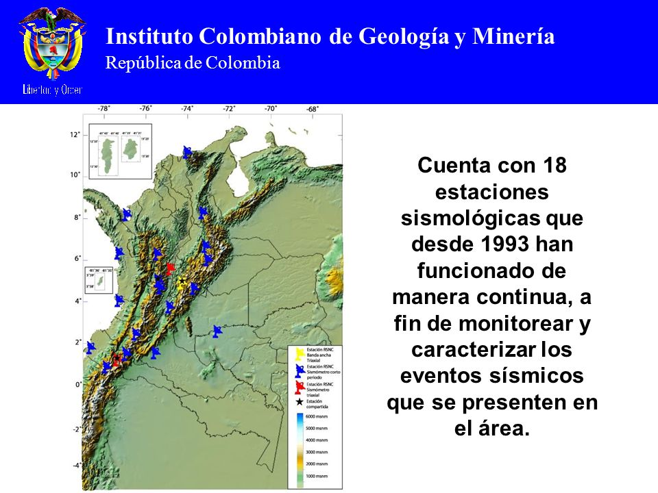 Cuenta con 18 estaciones sismológicas que desde 1993 han funcionado de manera continua, a fin de monitorear y caracterizar los eventos sísmicos que se presenten en el área.