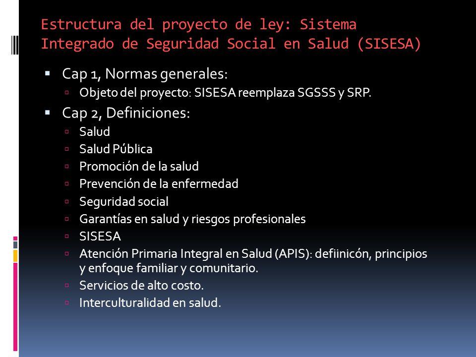 Estructura del proyecto de ley: Sistema Integrado de Seguridad Social en Salud (SISESA)
