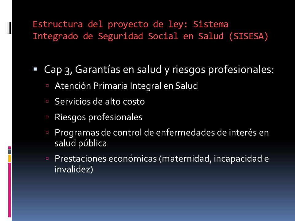 Cap 3, Garantías en salud y riesgos profesionales: