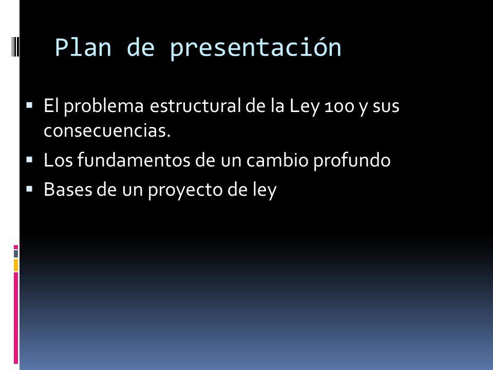 Plan de presentación El problema estructural de la Ley 100 y sus consecuencias. Los fundamentos de un cambio profundo.