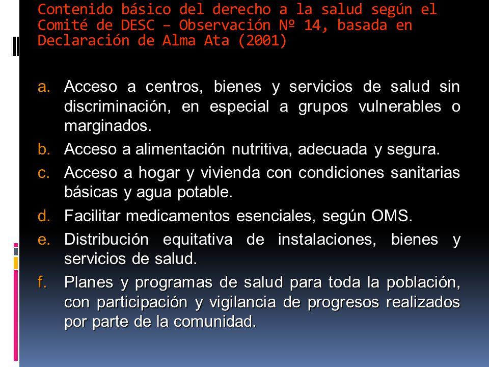 Contenido básico del derecho a la salud según el Comité de DESC – Observación Nº 14, basada en Declaración de Alma Ata (2001)