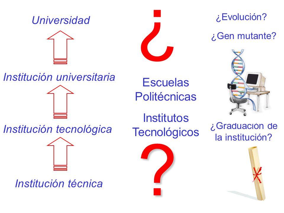 ¿ Escuelas Politécnicas Institutos Tecnológicos Universidad