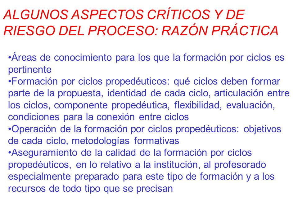 ALGUNOS ASPECTOS CRÍTICOS Y DE RIESGO DEL PROCESO: RAZÓN PRÁCTICA