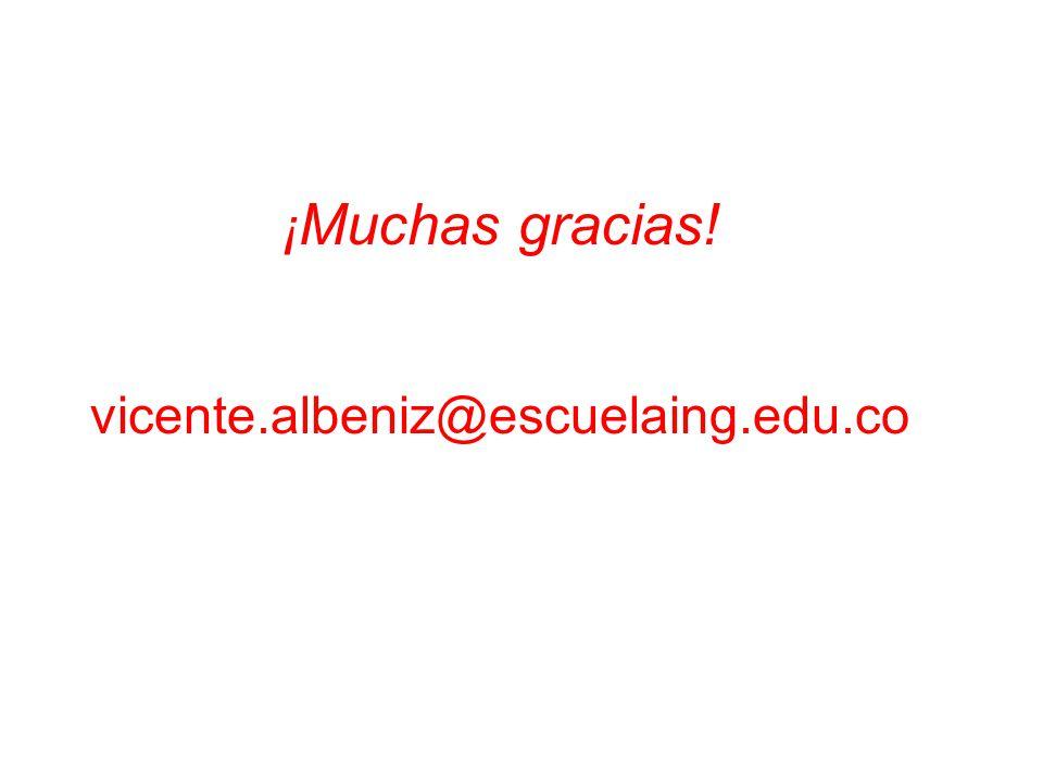 ¡Muchas gracias! vicente.albeniz@escuelaing.edu.co