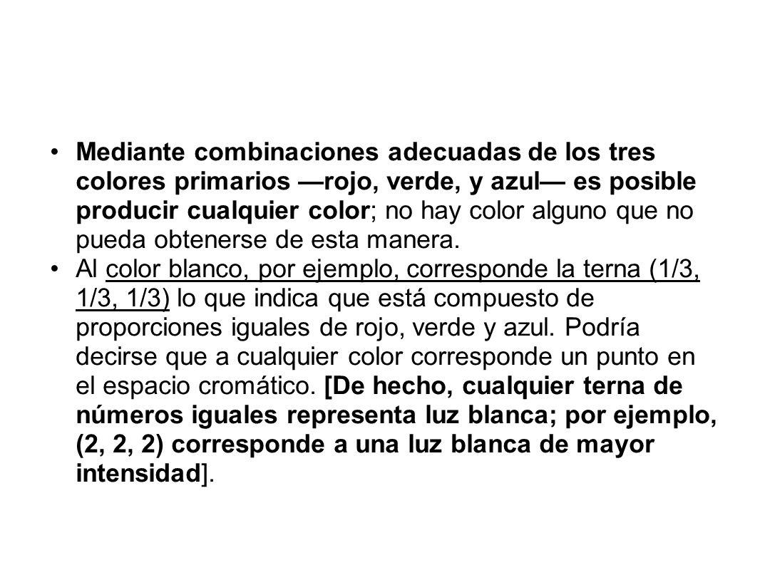 Mediante combinaciones adecuadas de los tres colores primarios —rojo, verde, y azul— es posible producir cualquier color; no hay color alguno que no pueda obtenerse de esta manera.