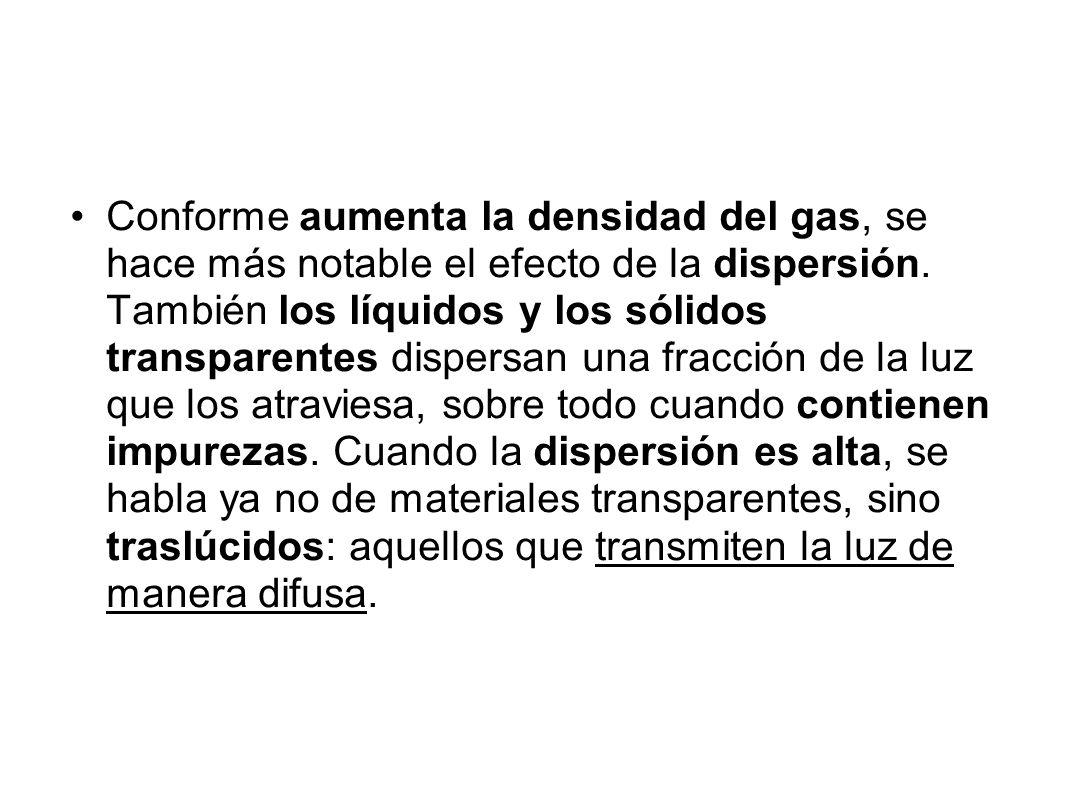 Conforme aumenta la densidad del gas, se hace más notable el efecto de la dispersión.