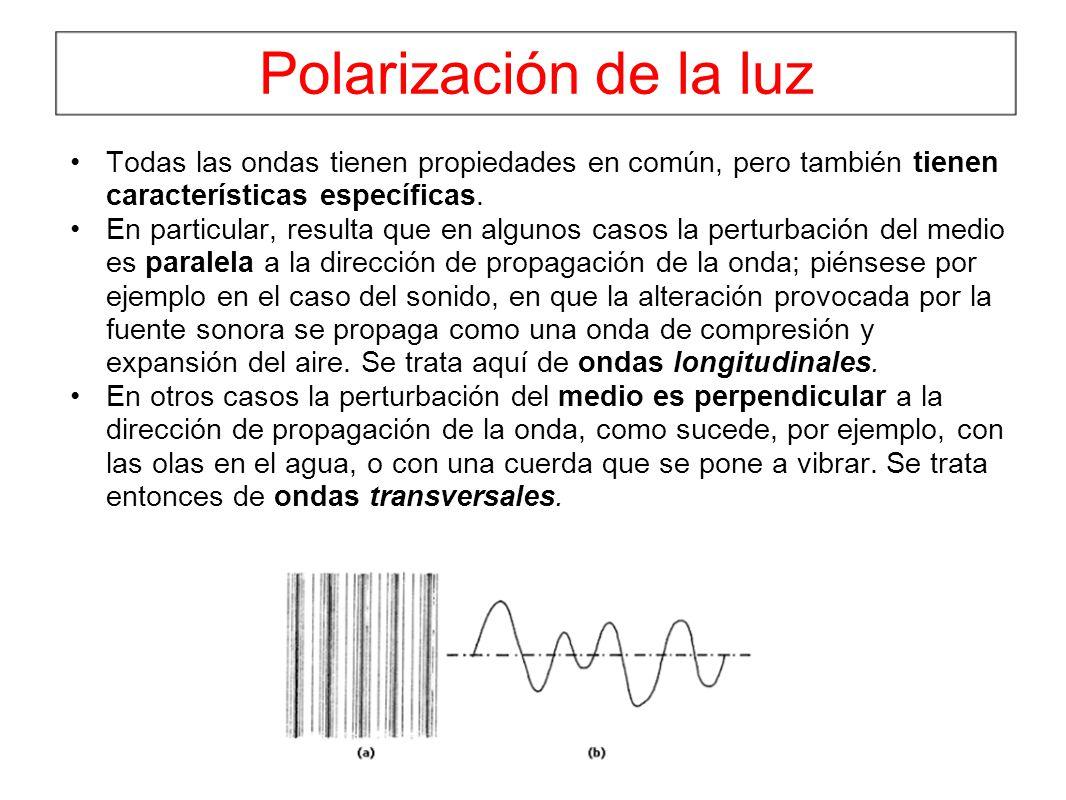 Polarización de la luz Todas las ondas tienen propiedades en común, pero también tienen características específicas.