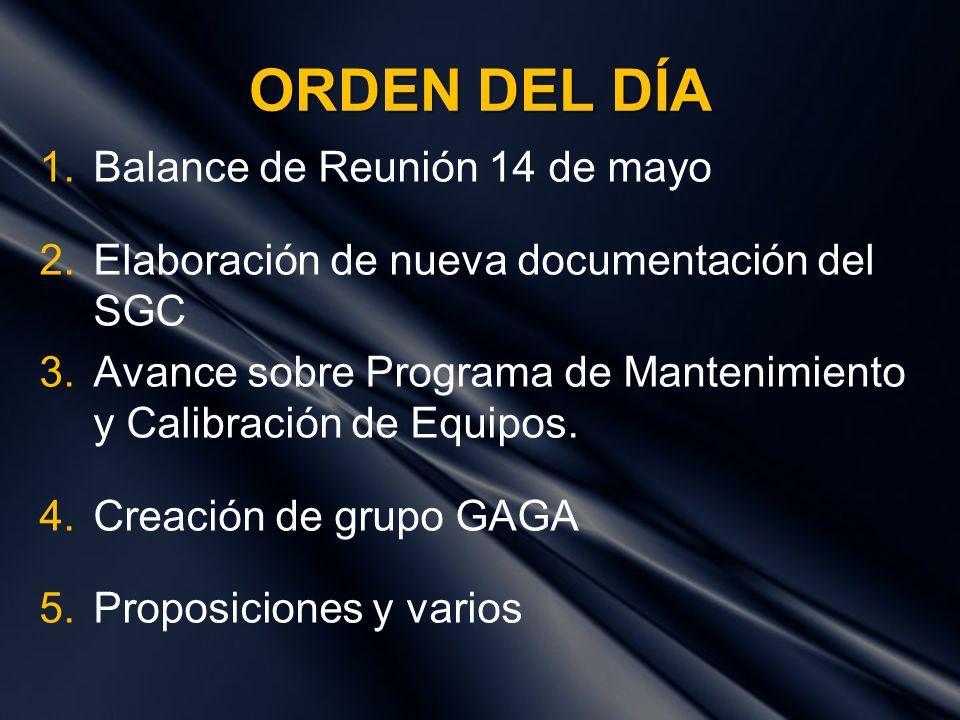 ORDEN DEL DÍA Balance de Reunión 14 de mayo