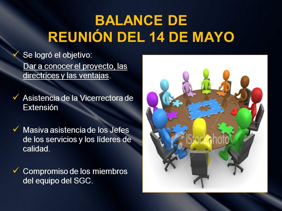 BALANCE DE REUNIÓN DEL 14 DE MAYO