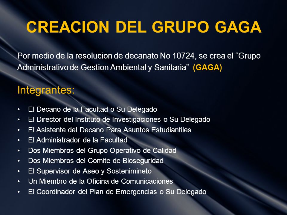 CREACION DEL GRUPO GAGA