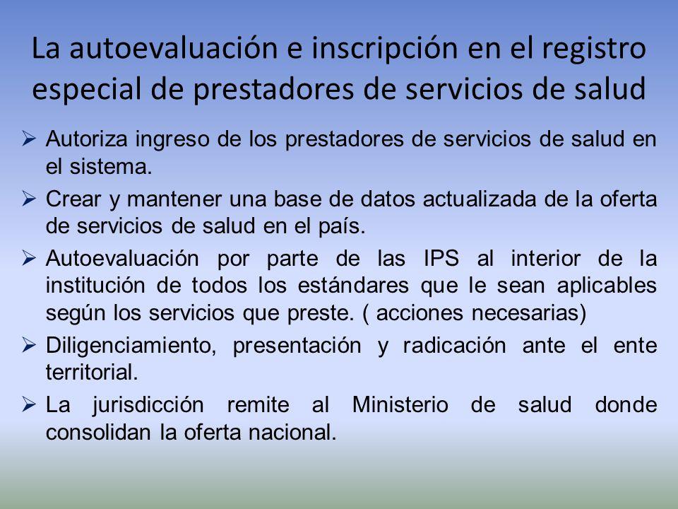 La autoevaluación e inscripción en el registro especial de prestadores de servicios de salud