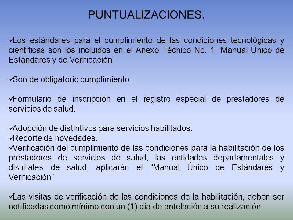 PUNTUALIZACIONES.