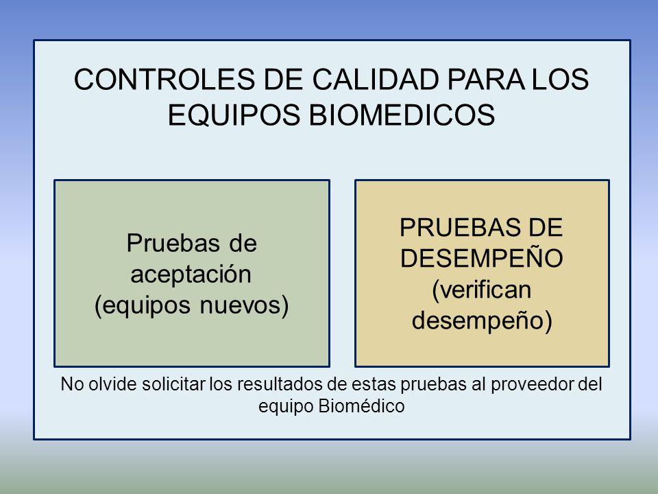 CONTROLES DE CALIDAD PARA LOS EQUIPOS BIOMEDICOS