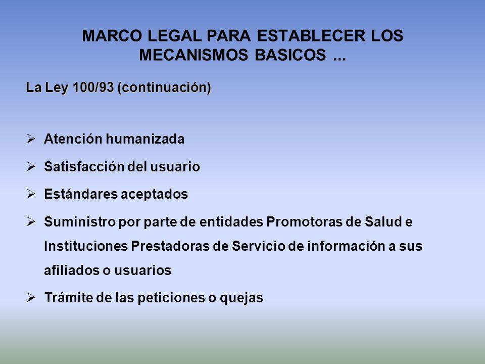 MARCO LEGAL PARA ESTABLECER LOS MECANISMOS BASICOS ...