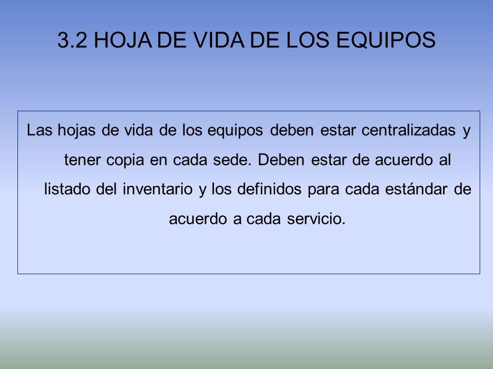 3.2 HOJA DE VIDA DE LOS EQUIPOS