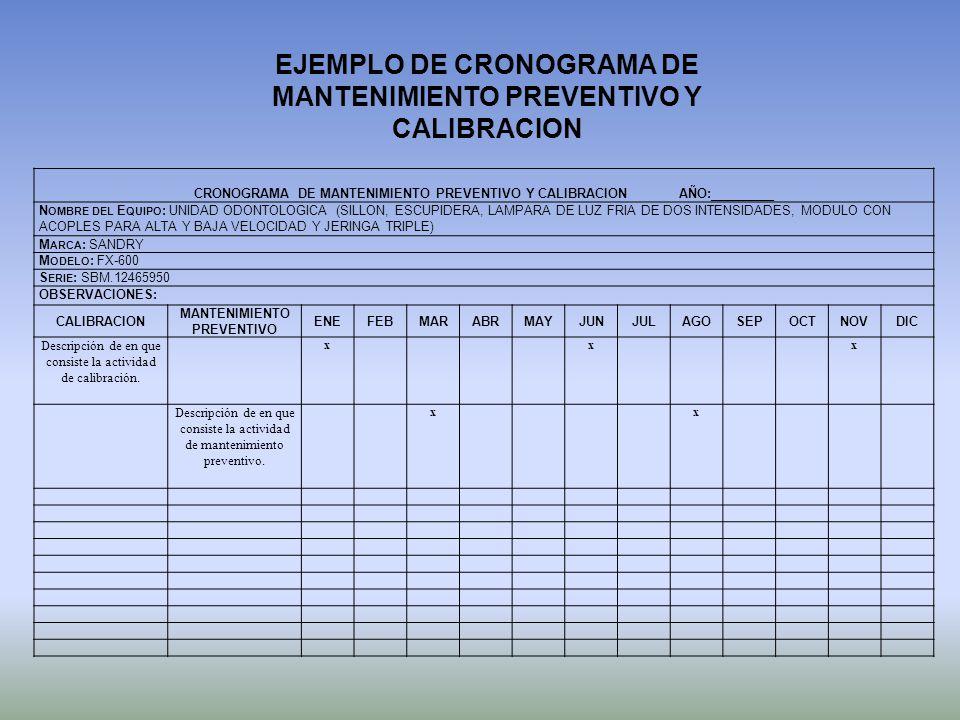EJEMPLO DE CRONOGRAMA DE MANTENIMIENTO PREVENTIVO Y CALIBRACION