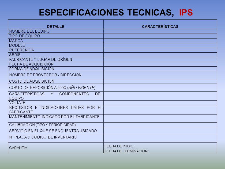 ESPECIFICACIONES TECNICAS, IPS