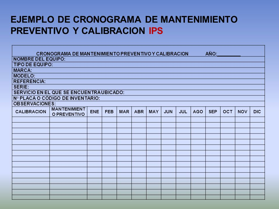 EJEMPLO DE CRONOGRAMA DE MANTENIMIENTO PREVENTIVO Y CALIBRACION IPS