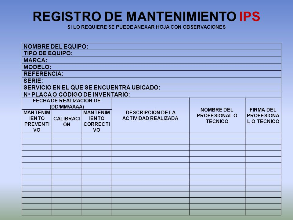 REGISTRO DE MANTENIMIENTO IPS