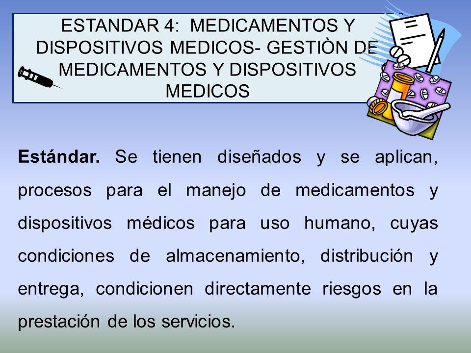 ESTANDAR 4: MEDICAMENTOS Y DISPOSITIVOS MEDICOS- GESTIÒN DE MEDICAMENTOS Y DISPOSITIVOS MEDICOS