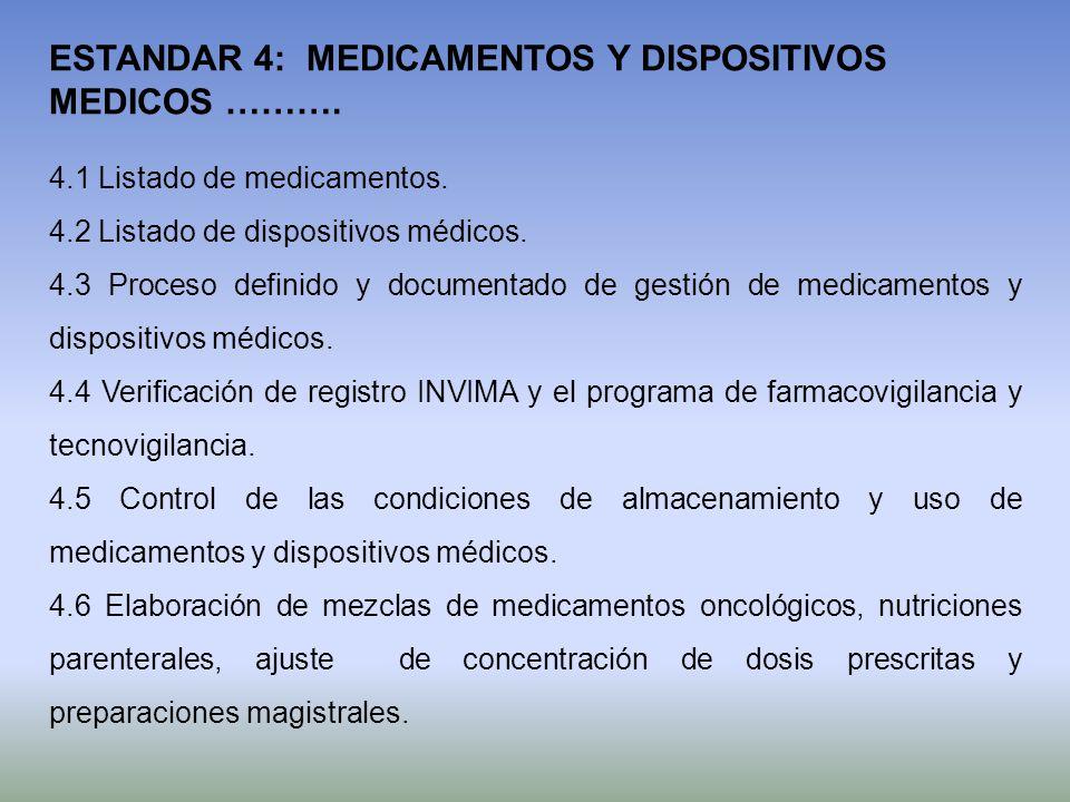 ESTANDAR 4: MEDICAMENTOS Y DISPOSITIVOS MEDICOS ……….