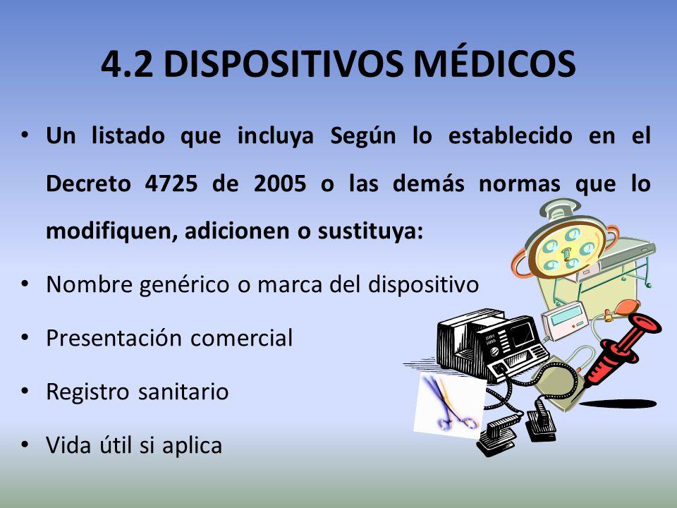 4.2 DISPOSITIVOS MÉDICOS