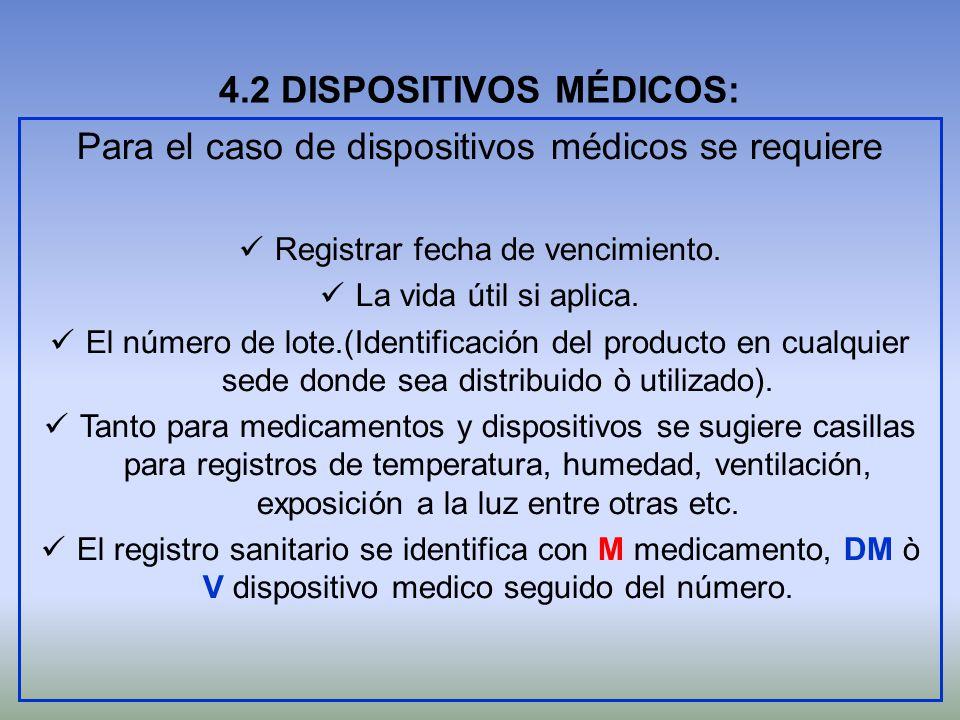4.2 DISPOSITIVOS MÉDICOS: