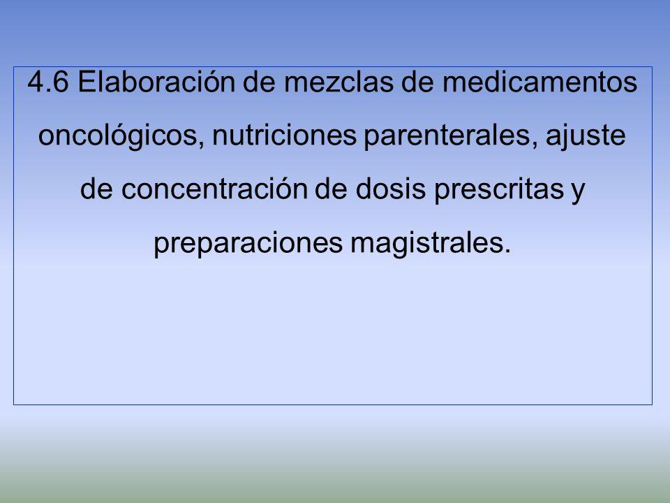 4.6 Elaboración de mezclas de medicamentos oncológicos, nutriciones parenterales, ajuste de concentración de dosis prescritas y preparaciones magistrales.
