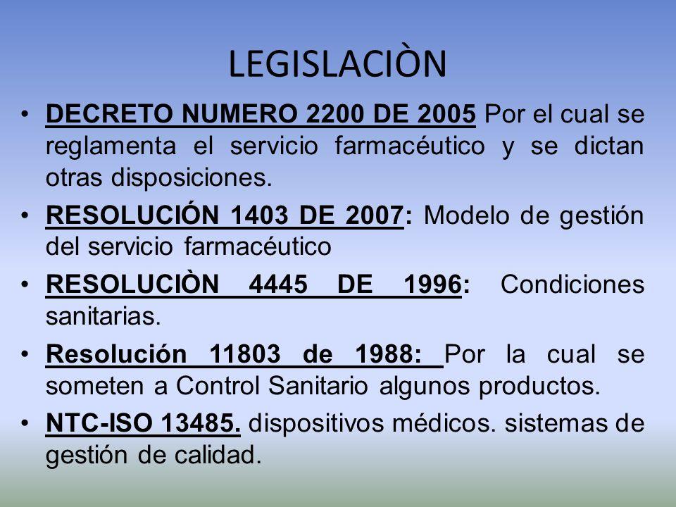 LEGISLACIÒN DECRETO NUMERO 2200 DE 2005 Por el cual se reglamenta el servicio farmacéutico y se dictan otras disposiciones.