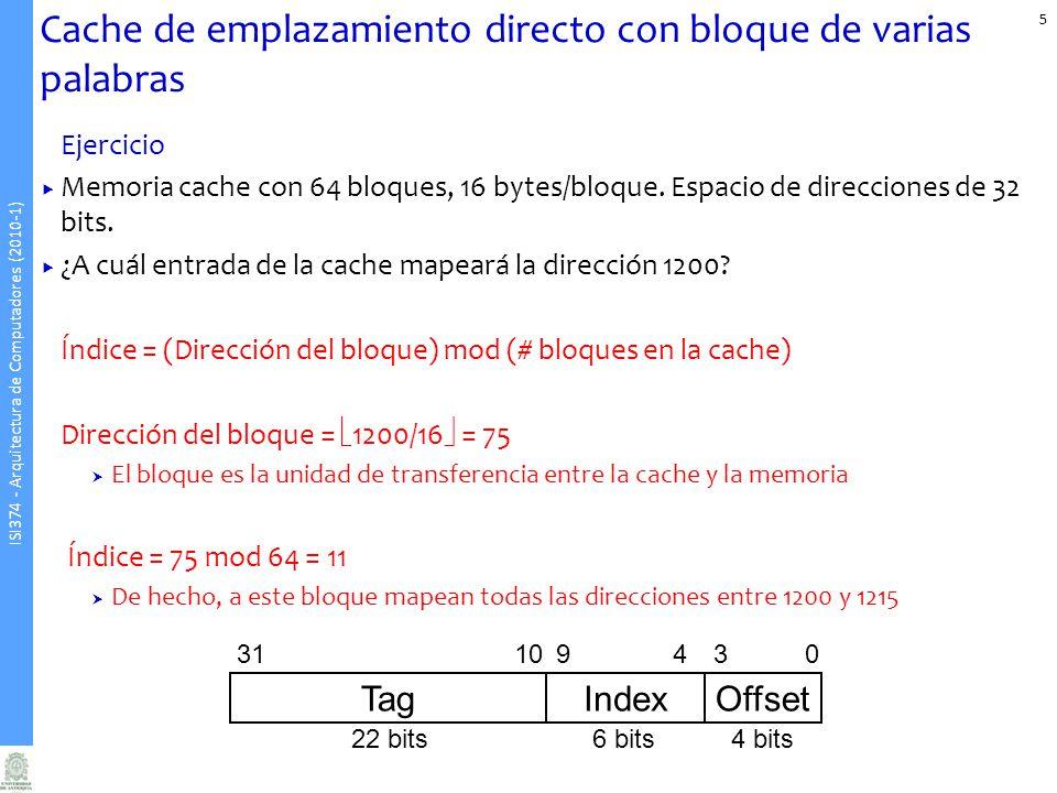 Cache de emplazamiento directo con bloque de varias palabras