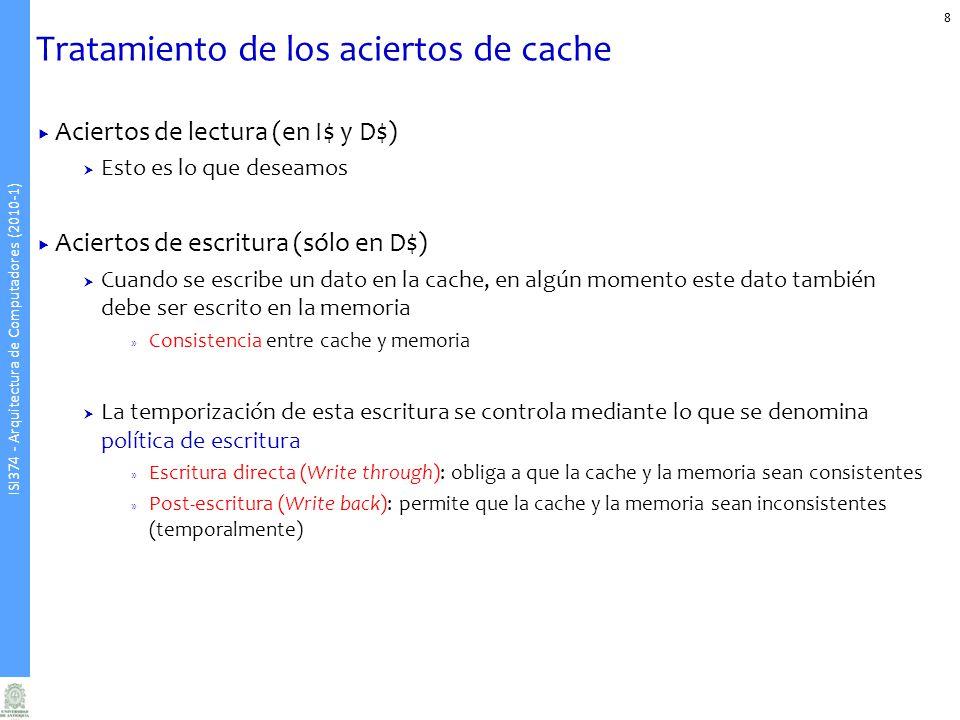Tratamiento de los aciertos de cache