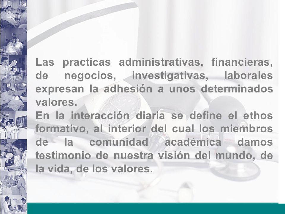 Las practicas administrativas, financieras, de negocios, investigativas, laborales expresan la adhesión a unos determinados valores.