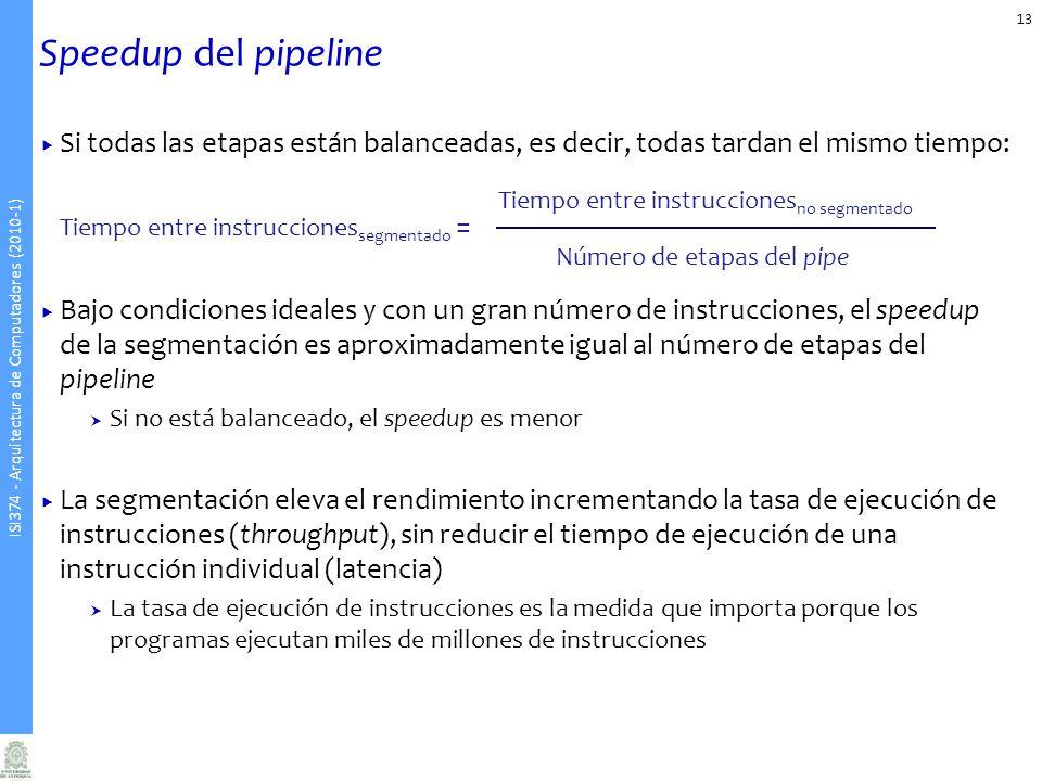 Speedup del pipeline Si todas las etapas están balanceadas, es decir, todas tardan el mismo tiempo: