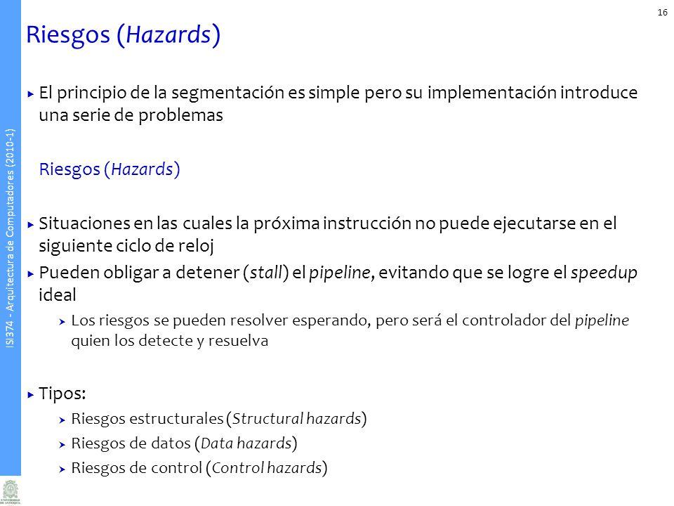 Riesgos (Hazards) El principio de la segmentación es simple pero su implementación introduce una serie de problemas.
