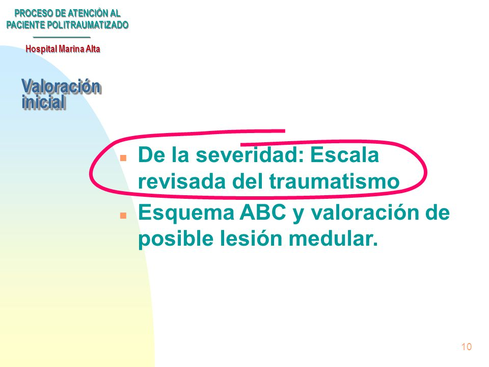 De la severidad: Escala revisada del traumatismo