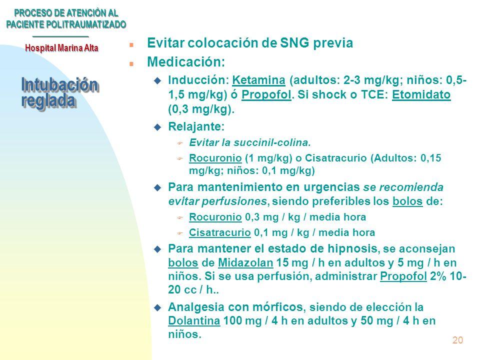 Intubación reglada Evitar colocación de SNG previa Medicación: