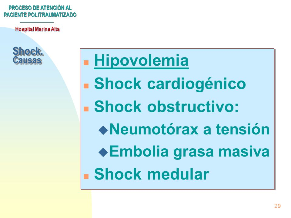 Hipovolemia Shock cardiogénico Shock obstructivo: Shock medular