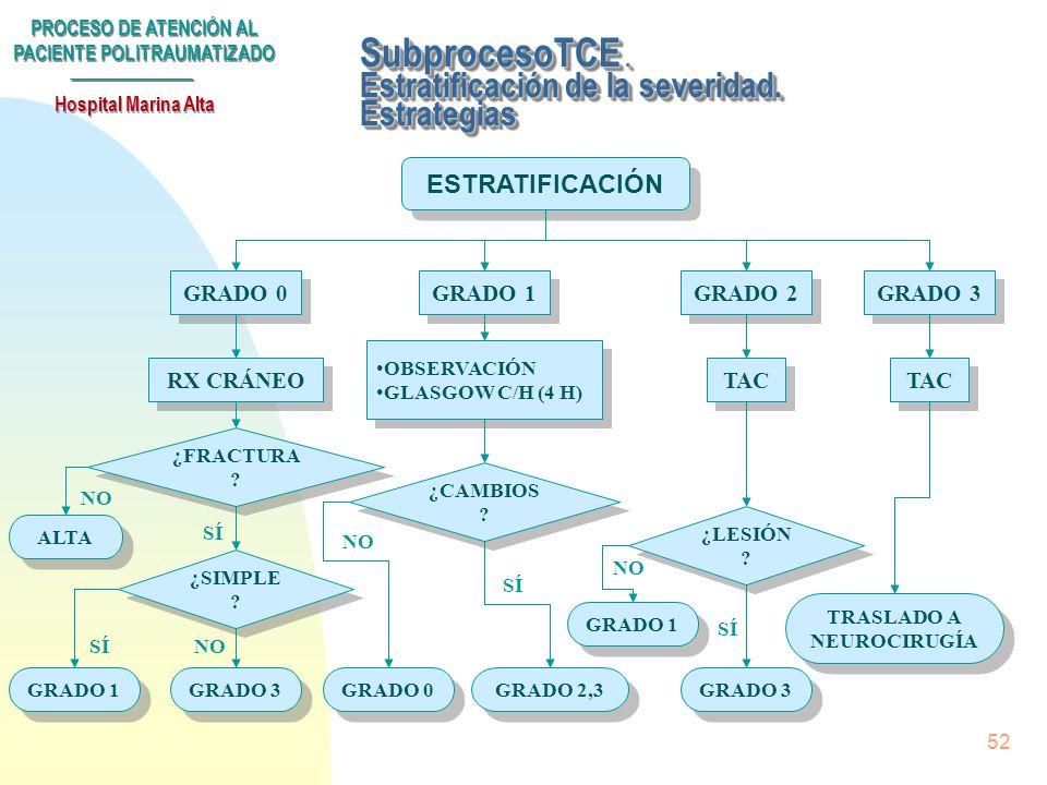 SubprocesoTCE . Estratificación de la severidad. Estrategias