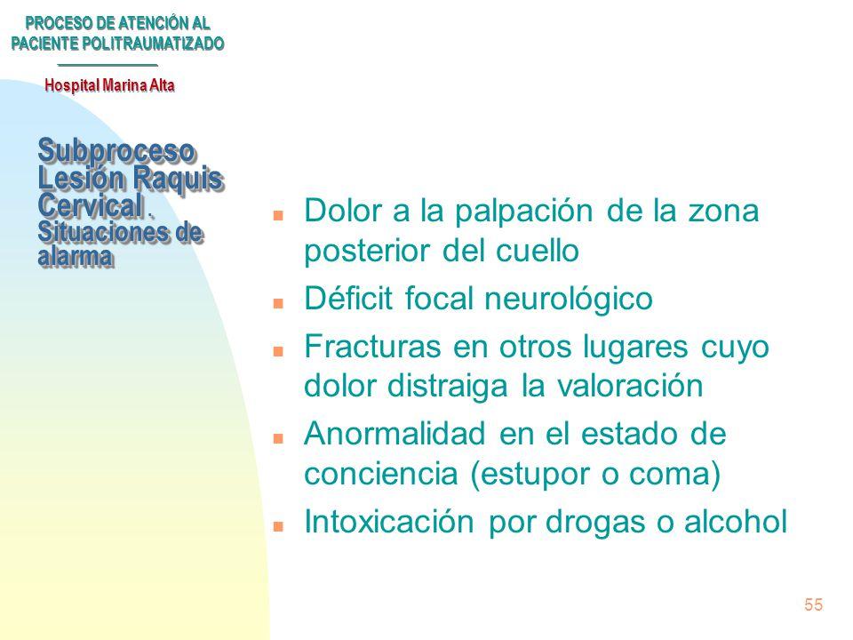 Subproceso Lesión Raquis Cervical . Situaciones de alarma