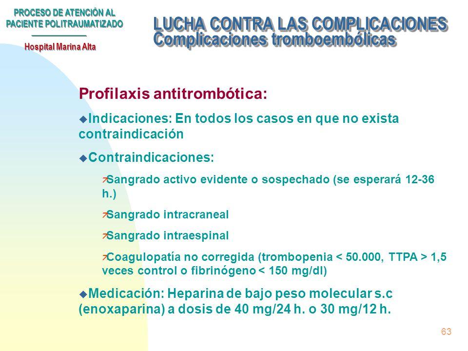 LUCHA CONTRA LAS COMPLICACIONES Complicaciones tromboembólicas