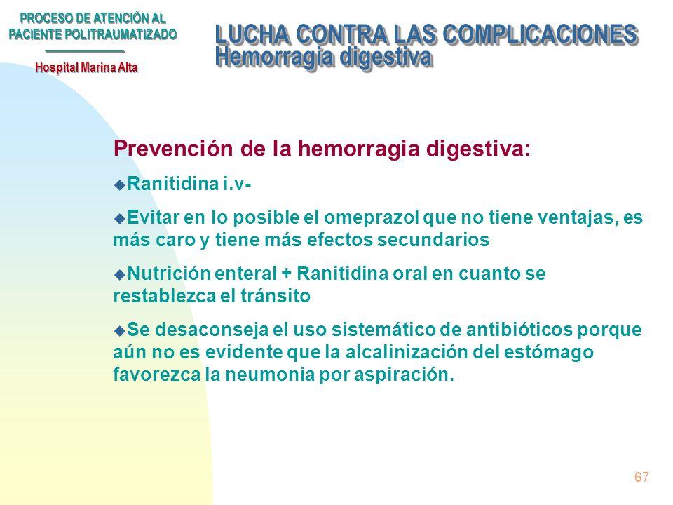 LUCHA CONTRA LAS COMPLICACIONES Hemorragia digestiva