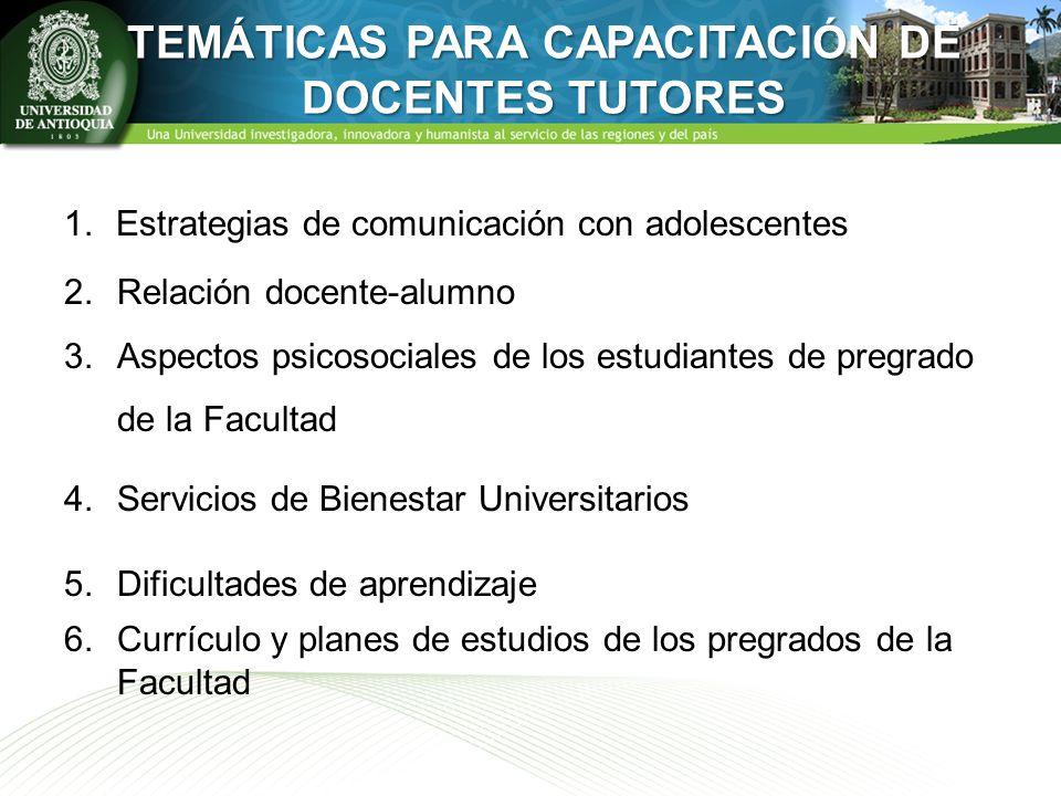 TEMÁTICAS PARA CAPACITACIÓN DE DOCENTES TUTORES