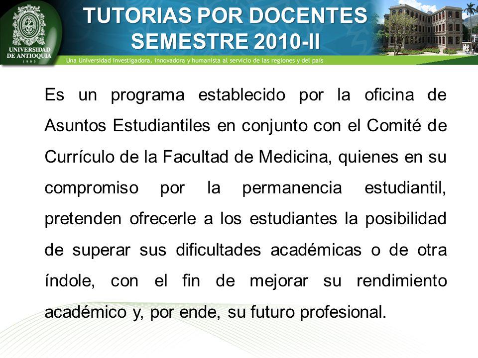 TUTORIAS POR DOCENTES SEMESTRE 2010-II