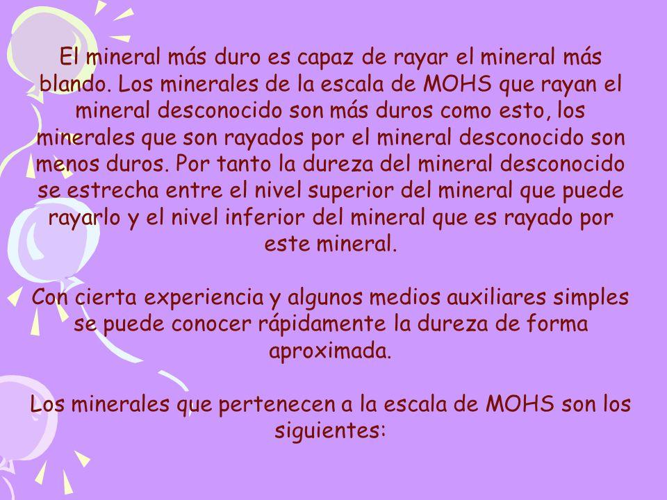 Los minerales que pertenecen a la escala de MOHS son los siguientes: