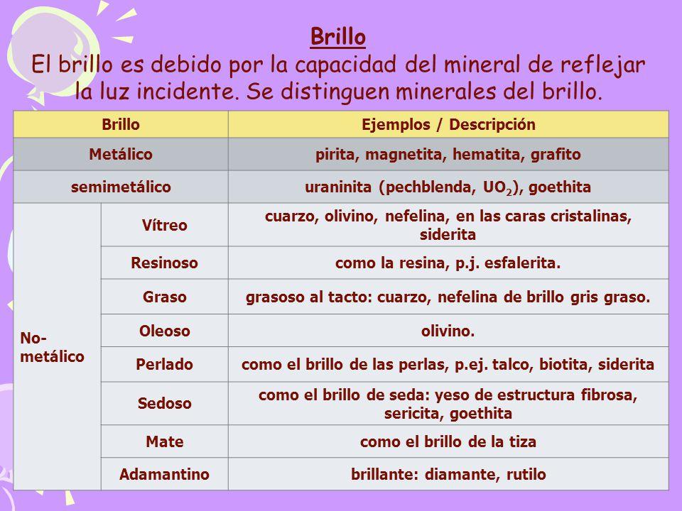 Brillo El brillo es debido por la capacidad del mineral de reflejar la luz incidente. Se distinguen minerales del brillo.