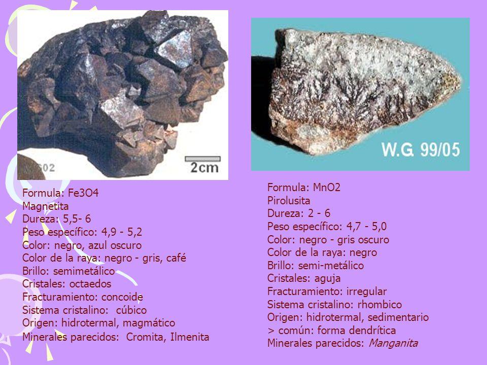 Formula: MnO2 Pirolusita